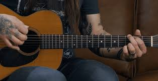 strumming the acoustic guitar