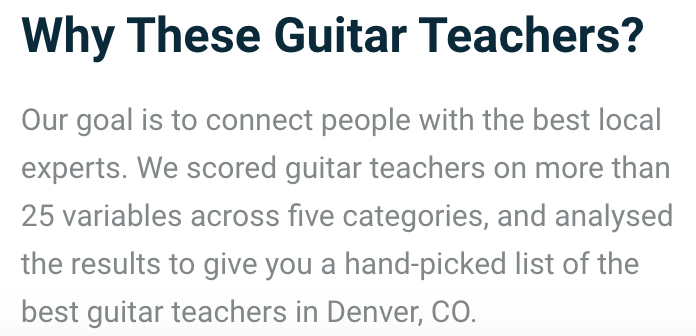 Why These Guitar teachers?